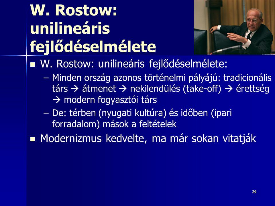 262626 W. Rostow: unilineáris fejlődéselmélete W. Rostow: unilineáris fejlődéselmélete: – –Minden ország azonos történelmi pályájú: tradicionális társ
