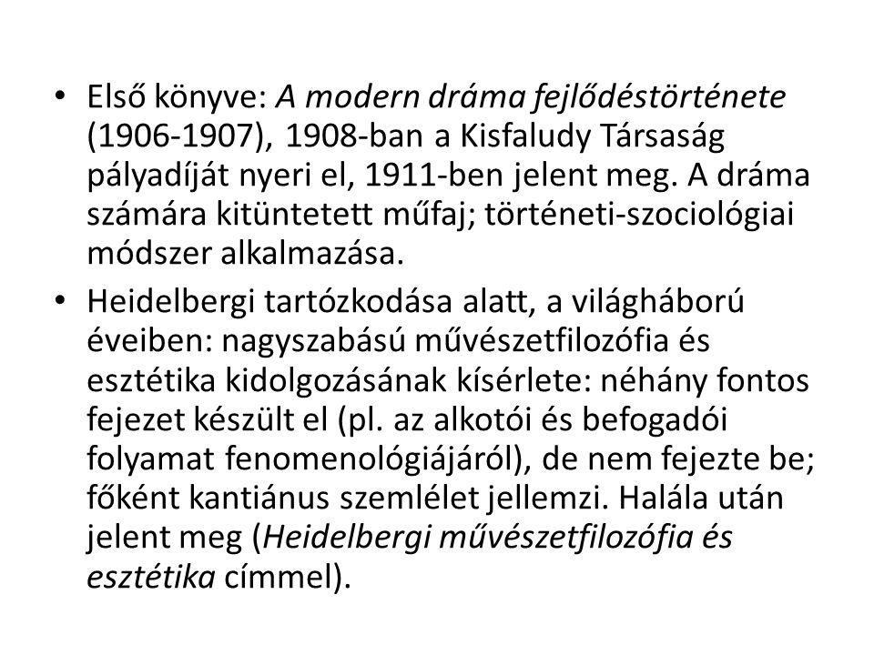 Első könyve: A modern dráma fejlődéstörténete (1906-1907), 1908-ban a Kisfaludy Társaság pályadíját nyeri el, 1911-ben jelent meg.