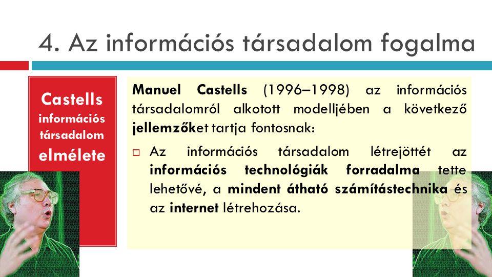 4. Az információs társadalom fogalma Manuel Castells (1996–1998) az információs társadalomról alkotott modelljében a következő jellemzőket tartja font