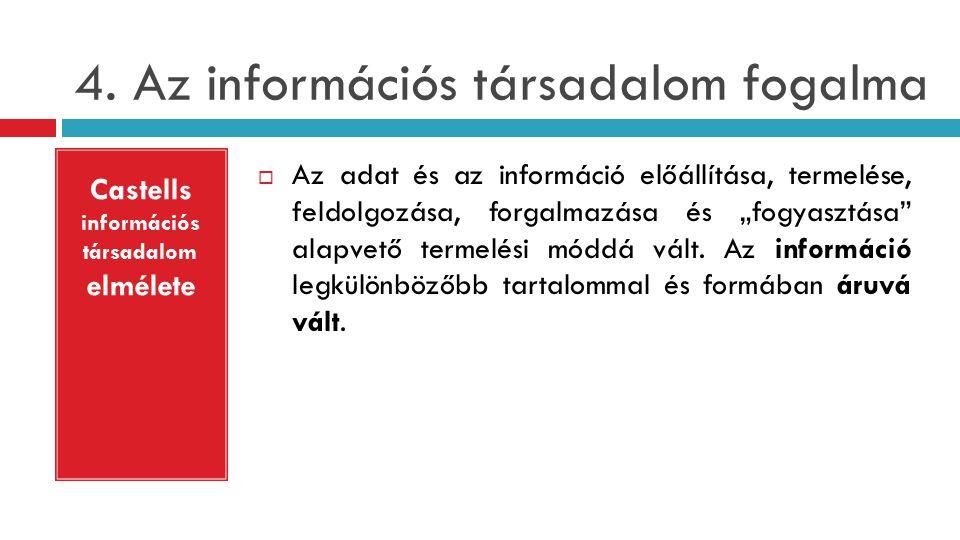 """4. Az információs társadalom fogalma  Az adat és az információ előállítása, termelése, feldolgozása, forgalmazása és """"fogyasztása"""" alapvető termelési"""