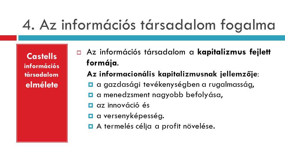 4.Az információs társadalom fogalma  Az információs társadalom a kapitalizmus fejlett formája.
