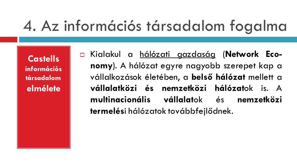 4.Az információs társadalom fogalma  Kialakul a hálózati gazdaság (Network Eco- nomy).