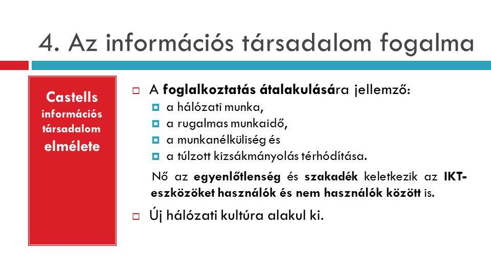 4. Az információs társadalom fogalma  A foglalkoztatás átalakulására jellemző:  a hálózati munka,  a rugalmas munkaidő,  a munkanélküliség és  a
