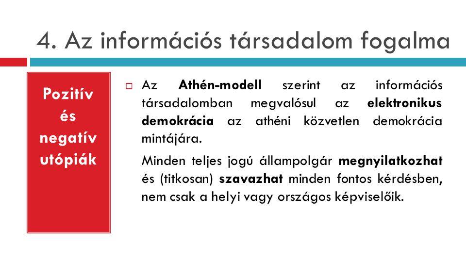 4. Az információs társadalom fogalma  Az Athén-modell szerint az információs társadalomban megvalósul az elektronikus demokrácia az athéni közvetlen