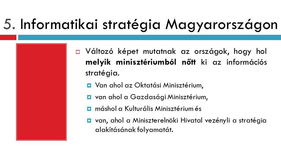 5. Informatikai stratégia Magyarországon  Változó képet mutatnak az országok, hogy hol melyik minisztériumból nőtt ki az információs stratégia.  Van