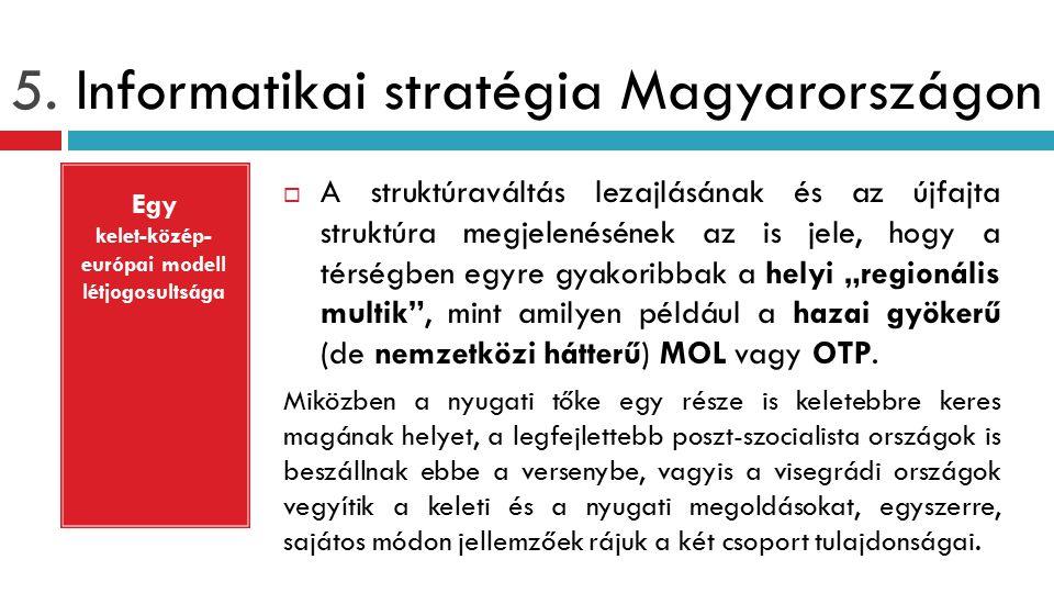 5. Informatikai stratégia Magyarországon  A struktúraváltás lezajlásának és az újfajta struktúra megjelenésének az is jele, hogy a térségben egyre gy