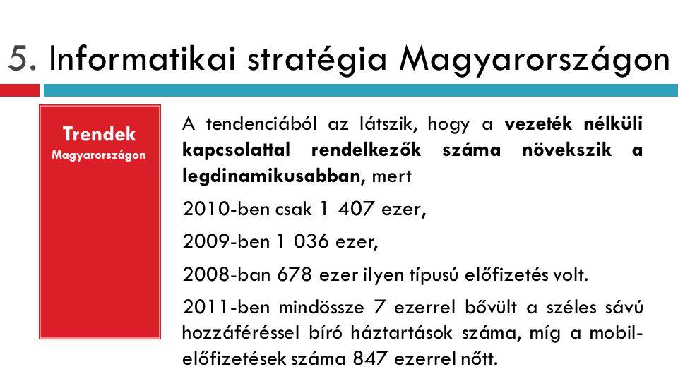 5. Informatikai stratégia Magyarországon A tendenciából az látszik, hogy a vezeték nélküli kapcsolattal rendelkezők száma növekszik a legdinamikusabba