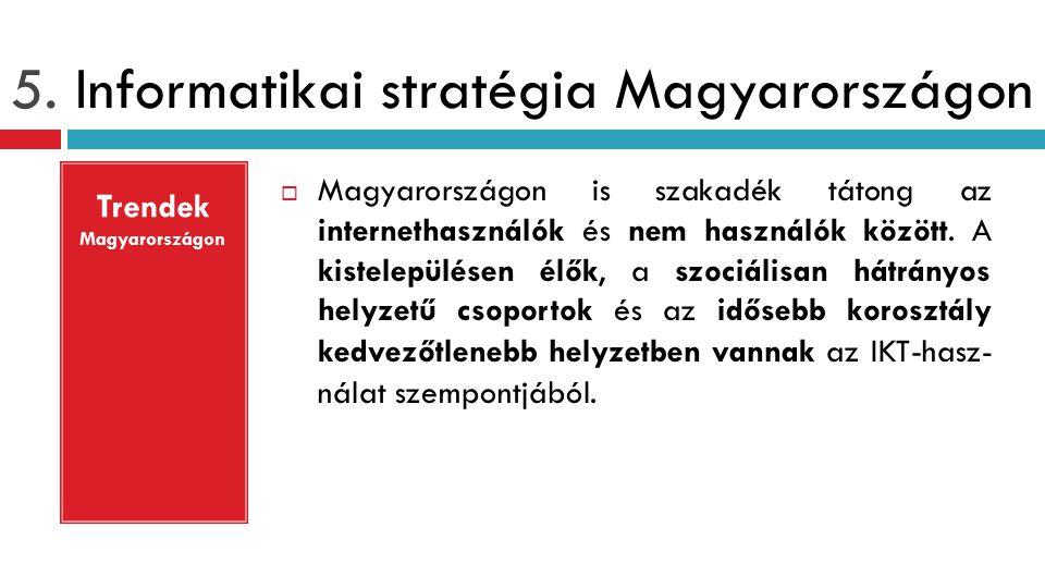 5. Informatikai stratégia Magyarországon  Magyarországon is szakadék tátong az internethasználók és nem használók között. A kistelepülésen élők, a sz