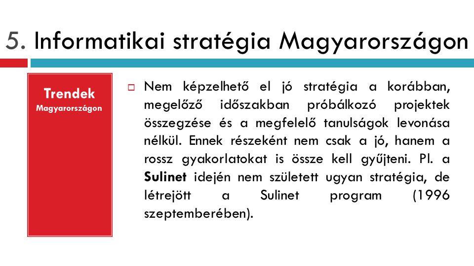 5. Informatikai stratégia Magyarországon  Nem képzelhető el jó stratégia a korábban, megelőző időszakban próbálkozó projektek összegzése és a megfele