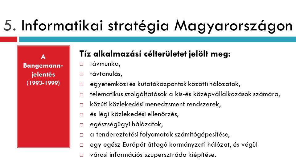 5. Informatikai stratégia Magyarországon Tíz alkalmazási célterületet jelölt meg:  távmunka,  távtanulás,  egyetemközi és kutatóközpontok közötti h