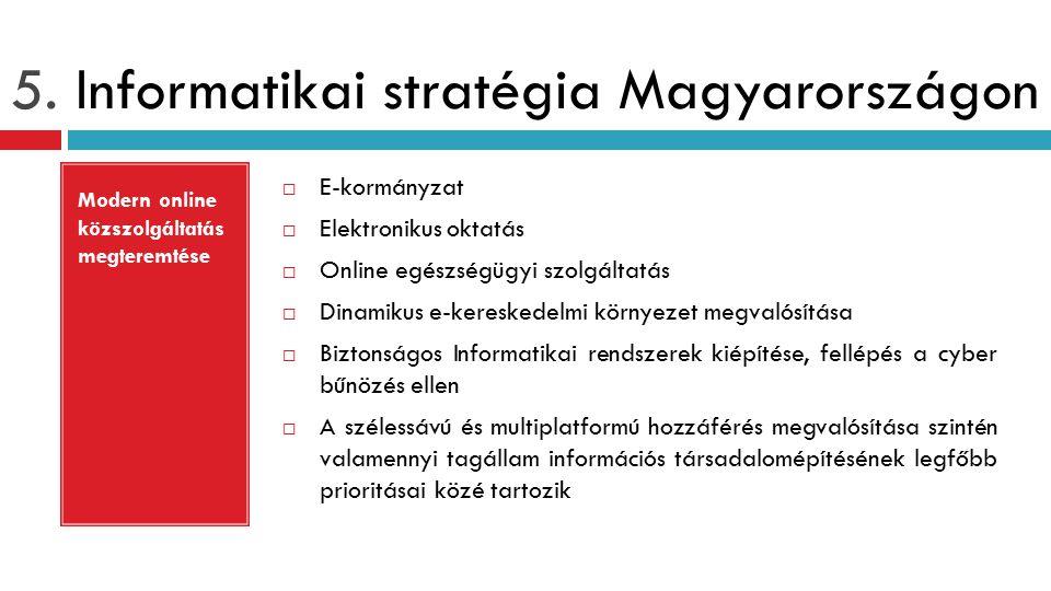 5. Informatikai stratégia Magyarországon  E-kormányzat  Elektronikus oktatás  Online egészségügyi szolgáltatás  Dinamikus e-kereskedelmi környezet