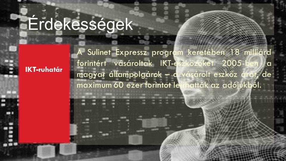 Érdekességek IKT-ruhatár A Sulinet Expressz program keretében 18 milliárd forintért vásároltak IKT-eszközöket 2005 ‑ ben a magyar állampolgárok – a vásárolt eszköz árát, de maximum 60 ezer forintot leírhatták az adójukból.