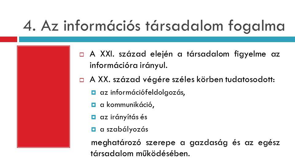 4.Az információs társadalom fogalma  A XXI.