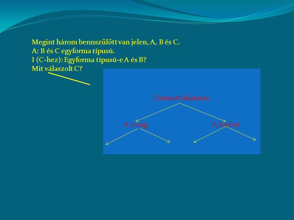 Megint három bennszülött van jelen, A, B és C. A: B és C egyforma típusú. I (C-hez): Egyforma típusú-e A és B? Mit válaszolt C? Esetszétválasztás A lo
