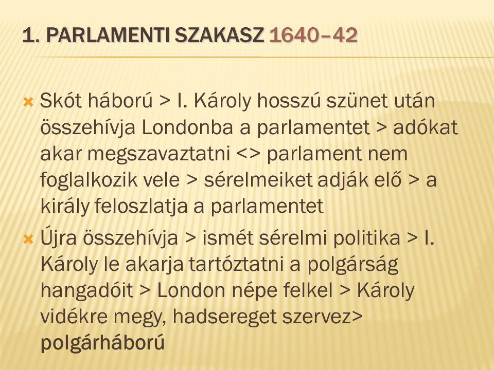 1. PARLAMENTI SZAKASZ 1640–42  Skót háború > I. Károly hosszú szünet után összehívja Londonba a parlamentet > adókat akar megszavaztatni <> parlament