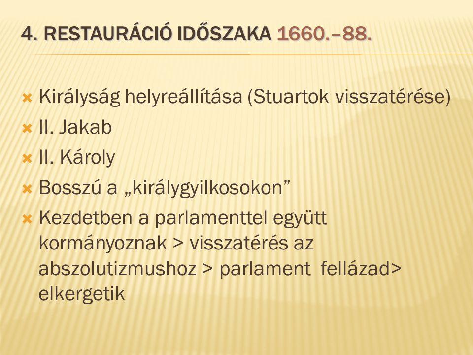"""4. RESTAURÁCIÓ IDŐSZAKA 1660.–88.  Királyság helyreállítása (Stuartok visszatérése)  II. Jakab  II. Károly  Bosszú a """"királygyilkosokon""""  Kezdetb"""