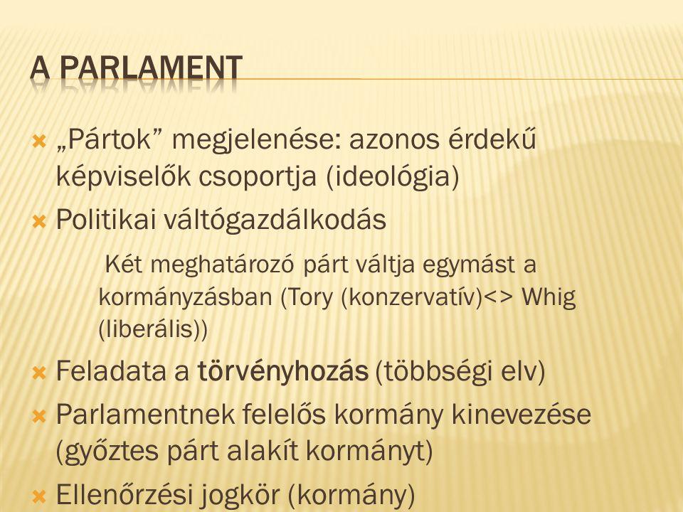 """ """"Pártok"""" megjelenése: azonos érdekű képviselők csoportja (ideológia)  Politikai váltógazdálkodás Két meghatározó párt váltja egymást a kormányzásba"""