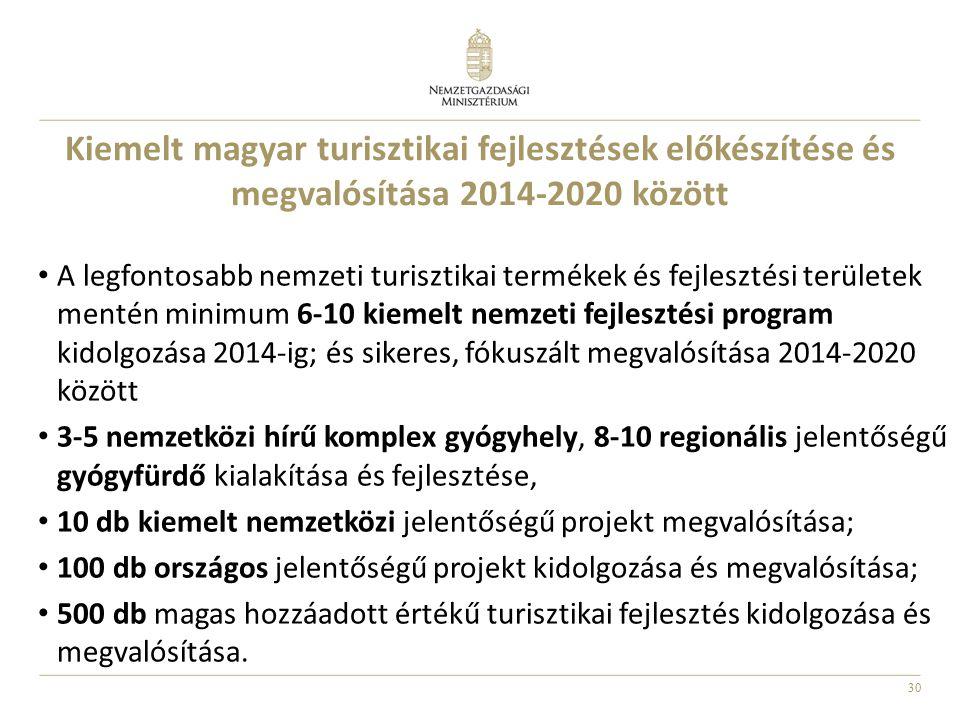 30 Kiemelt magyar turisztikai fejlesztések előkészítése és megvalósítása 2014-2020 között A legfontosabb nemzeti turisztikai termékek és fejlesztési területek mentén minimum 6-10 kiemelt nemzeti fejlesztési program kidolgozása 2014-ig; és sikeres, fókuszált megvalósítása 2014-2020 között 3-5 nemzetközi hírű komplex gyógyhely, 8-10 regionális jelentőségű gyógyfürdő kialakítása és fejlesztése, 10 db kiemelt nemzetközi jelentőségű projekt megvalósítása; 100 db országos jelentőségű projekt kidolgozása és megvalósítása; 500 db magas hozzáadott értékű turisztikai fejlesztés kidolgozása és megvalósítása.