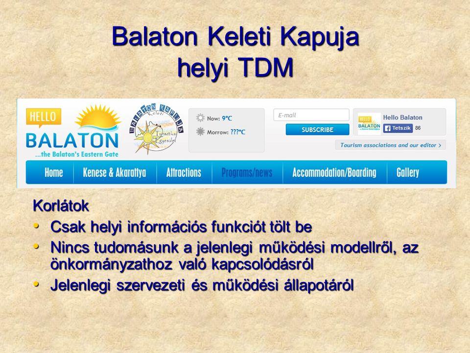 Balaton Keleti Kapuja helyi TDM Korlátok Csak helyi információs funkciót tölt be Csak helyi információs funkciót tölt be Nincs tudomásunk a jelenlegi működési modellről, az önkormányzathoz való kapcsolódásról Nincs tudomásunk a jelenlegi működési modellről, az önkormányzathoz való kapcsolódásról Jelenlegi szervezeti és működési állapotáról Jelenlegi szervezeti és működési állapotáról