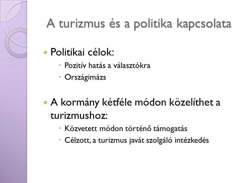 A turizmus és a politika kapcsolata Politikai célok:  Pozitív hatás a választókra  Országimázs A kormány kétféle módon közelíthet a turizmushoz:  K