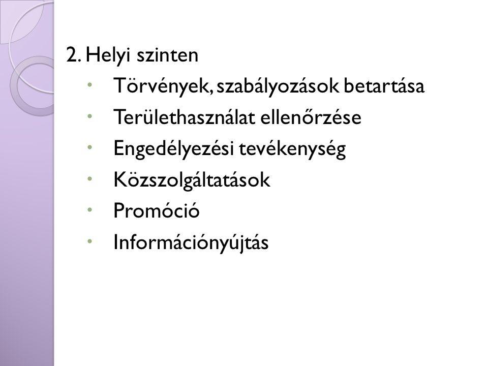 2. Helyi szinten  Törvények, szabályozások betartása  Területhasználat ellenőrzése  Engedélyezési tevékenység  Közszolgáltatások  Promóció  Info