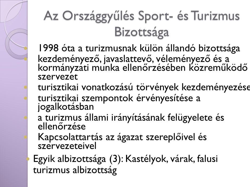 Az Országgyűlés Sport- és Turizmus Bizottsága 1998 óta a turizmusnak külön állandó bizottsága kezdeményező, javaslattevő, véleményező és a kormányzati
