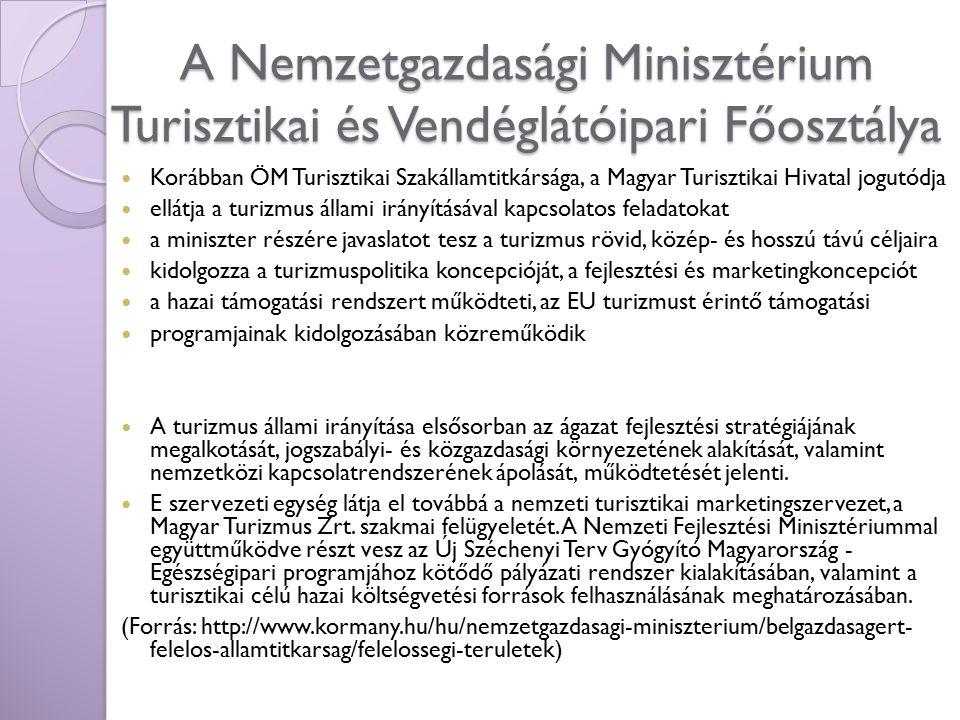A Nemzetgazdasági Minisztérium Turisztikai és Vendéglátóipari Főosztálya Korábban ÖM Turisztikai Szakállamtitkársága, a Magyar Turisztikai Hivatal jog