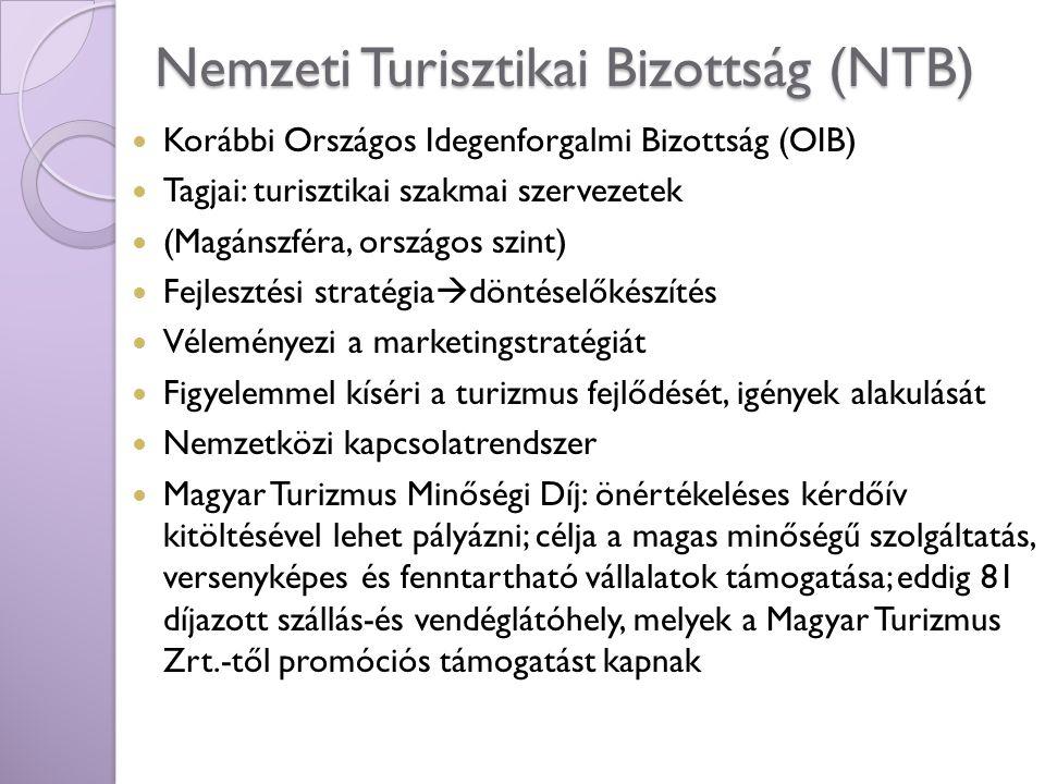 Nemzeti Turisztikai Bizottság (NTB) Korábbi Országos Idegenforgalmi Bizottság (OIB) Tagjai: turisztikai szakmai szervezetek (Magánszféra, országos szi