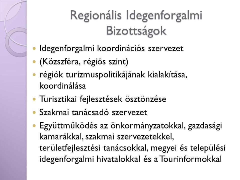 Regionális Idegenforgalmi Bizottságok Idegenforgalmi koordinációs szervezet (Közszféra, régiós szint) régiók turizmuspolitikájának kialakítása, koordi