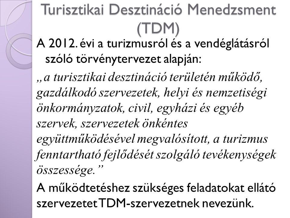 """Turisztikai Desztináció Menedzsment (TDM) A 2012. évi a turizmusról és a vendéglátásról szóló törvénytervezet alapján: """"a turisztikai desztináció terü"""