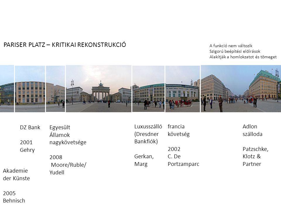 francia követség 2002 C. De Portzamparc Luxusszálló (Dresdner Bankfiók) Gerkan, Marg Egyesült Államok nagykövetsége 2008 Moore/Ruble/ Yudell DZ Bank 2