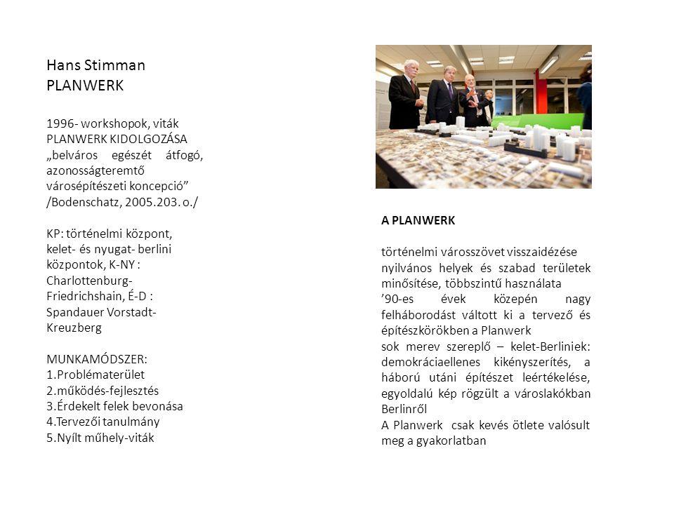 """Hans Stimman PLANWERK 1996- workshopok, viták PLANWERK KIDOLGOZÁSA """"belváros egészét átfogó, azonosságteremtő városépítészeti koncepció"""" /Bodenschatz,"""
