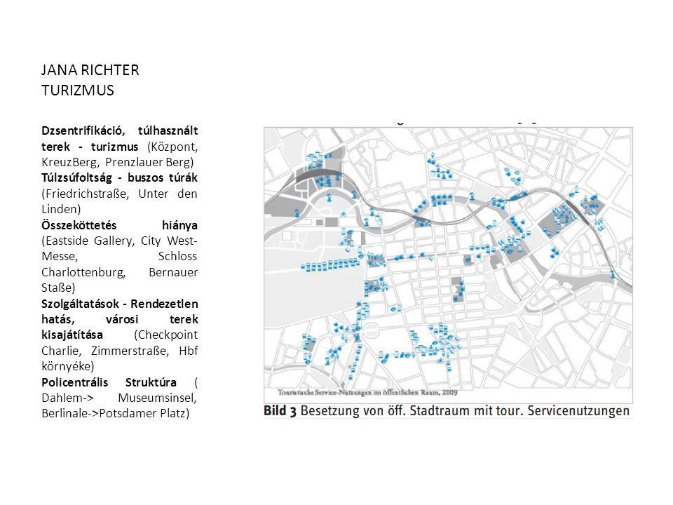 Dzsentrifikáció, túlhasznált terek - turizmus (Központ, KreuzBerg, Prenzlauer Berg) Túlzsúfoltság - buszos túrák (Friedrichstraße, Unter den Linden) Ö