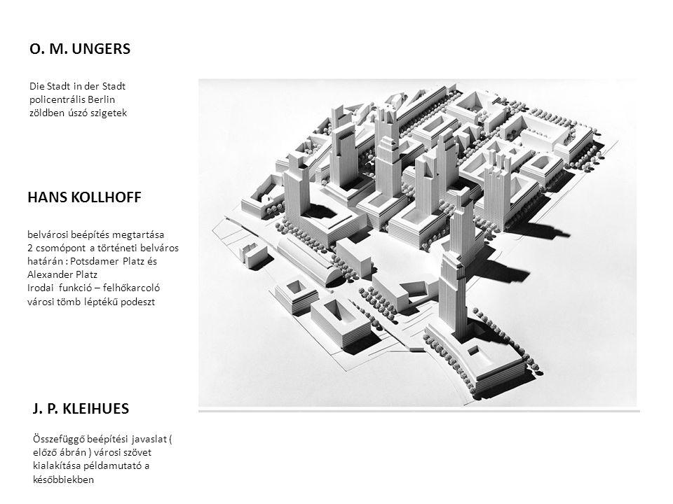 HANS KOLLHOFF belvárosi beépítés megtartása 2 csomópont a történeti belváros határán : Potsdamer Platz és Alexander Platz Irodai funkció – felhőkarcol