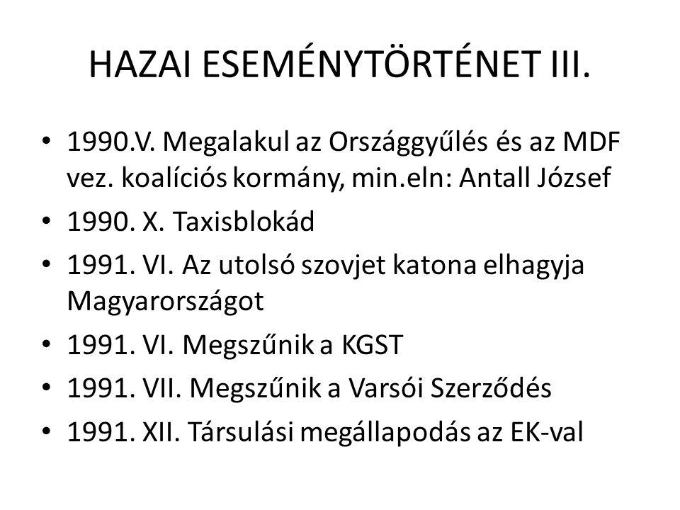 HAZAI ESEMÉNYTÖRTÉNET III. 1990.V. Megalakul az Országgyűlés és az MDF vez.