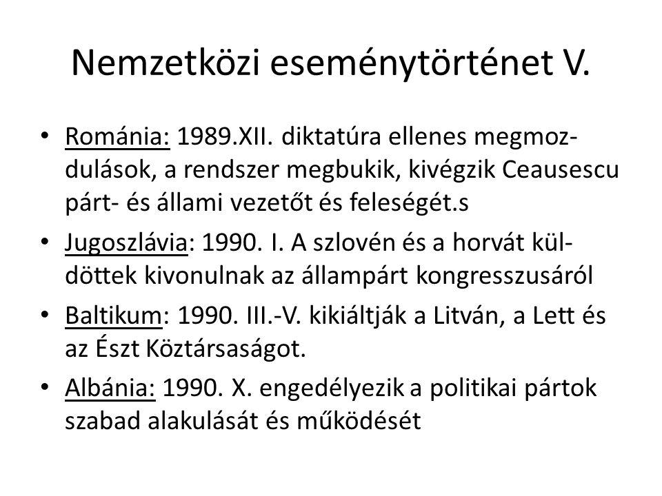 Nemzetközi eseménytörténet V. Románia: 1989.XII.