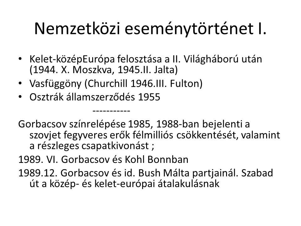 Nemzetközi eseménytörténet I. Kelet-középEurópa felosztása a II.