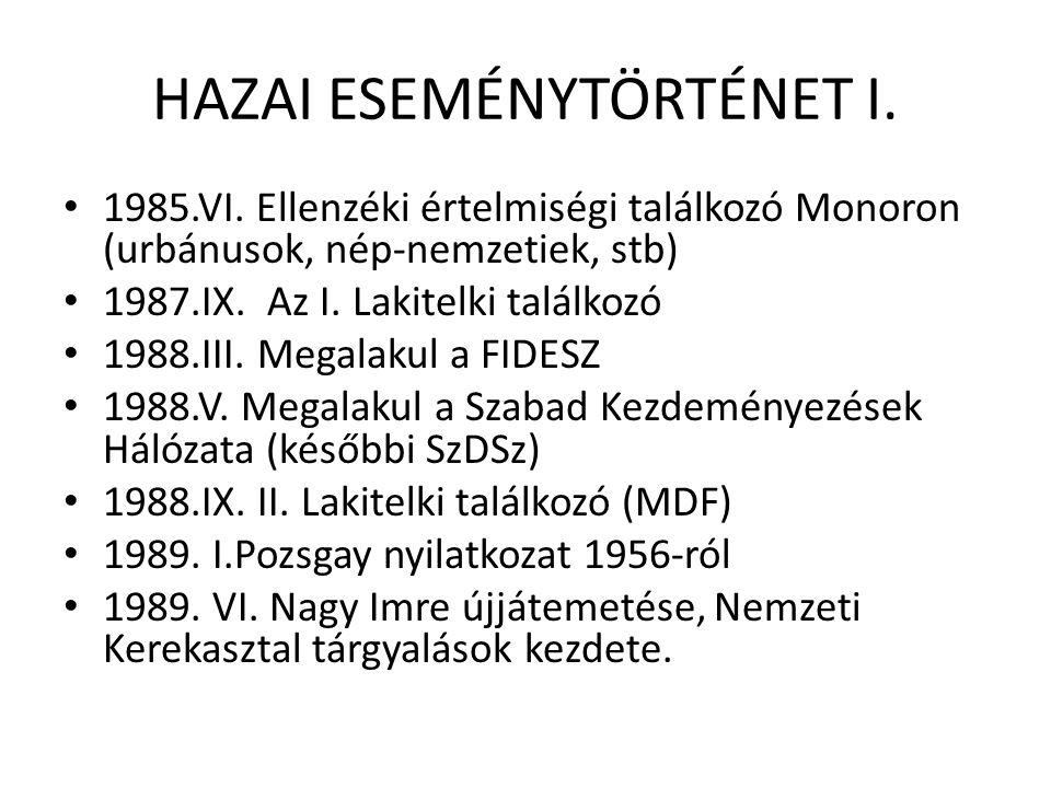 HAZAI ESEMÉNYTÖRTÉNET I. 1985.VI.