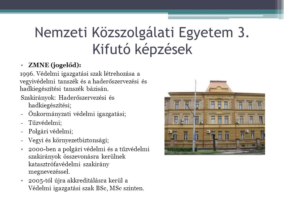 Nemzeti Közszolgálati Egyetem 3. Kifutó képzések ZMNE (jogelőd): 1996. Védelmi igazgatási szak létrehozása a vegyivédelmi tanszék és a haderőszervezés