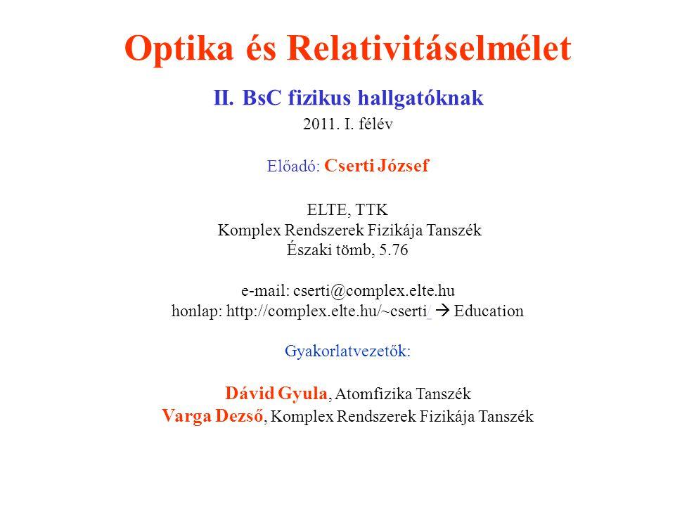 Optika és Relativitáselmélet II. BsC fizikus hallgatóknak 2011. I. félév Előadó: Cserti József ELTE, TTK Komplex Rendszerek Fizikája Tanszék Északi tö