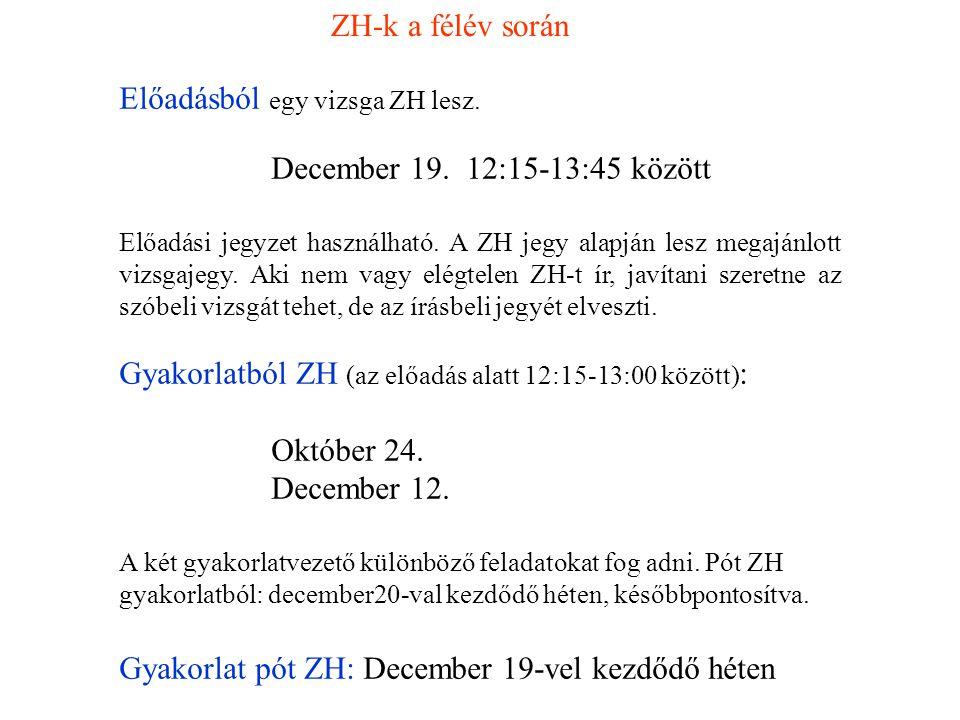 ZH-k a félév során Előadásból egy vizsga ZH lesz. December 19. 12:15-13:45 között Előadási jegyzet használható. A ZH jegy alapján lesz megajánlott viz