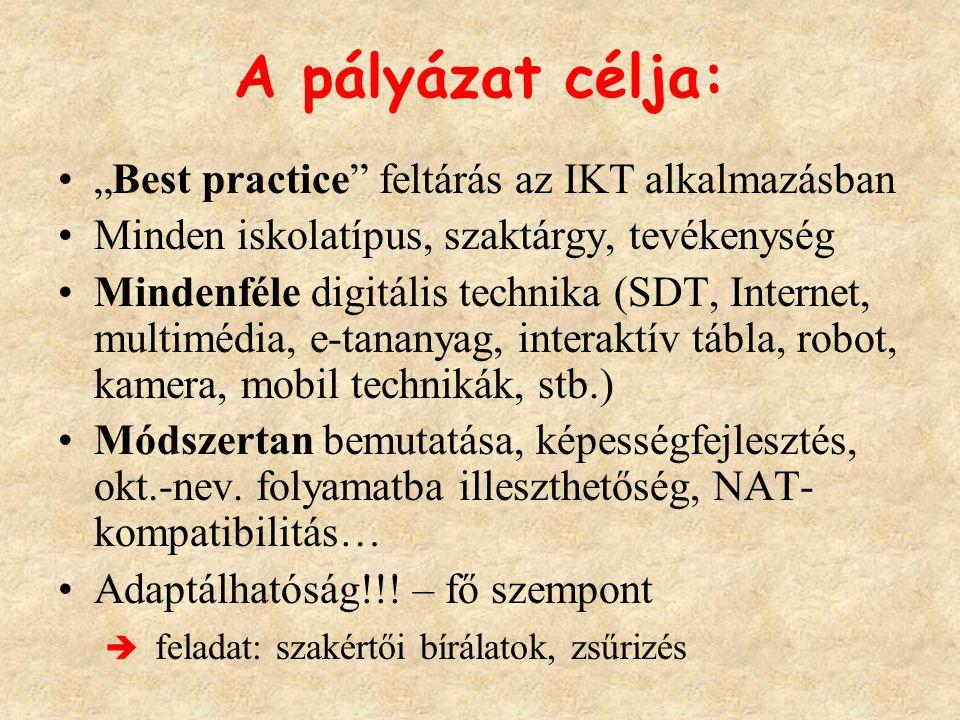 """A pályázat célja: """"Best practice"""" feltárás az IKT alkalmazásban Minden iskolatípus, szaktárgy, tevékenység Mindenféle digitális technika (SDT, Interne"""
