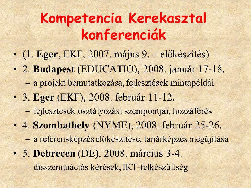 Kompetencia Kerekasztal konferenciák (1. Eger, EKF, 2007. május 9. – előkészítés) 2. Budapest (EDUCATIO), 2008. január 17-18. –a projekt bemutatkozása