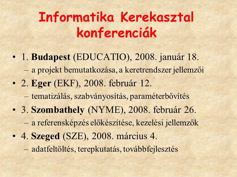 Informatika Kerekasztal konferenciák 1. Budapest (EDUCATIO), 2008.
