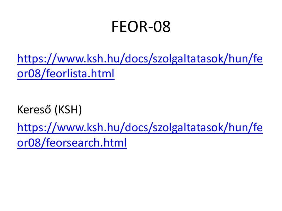 FEOR-08 https://www.ksh.hu/docs/szolgaltatasok/hun/fe or08/feorlista.html Kereső (KSH) https://www.ksh.hu/docs/szolgaltatasok/hun/fe or08/feorsearch.html