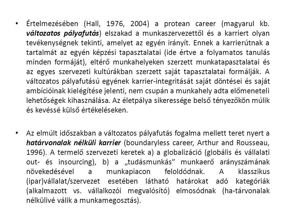 Értelmezésében (Hall, 1976, 2004) a protean career (magyarul kb.