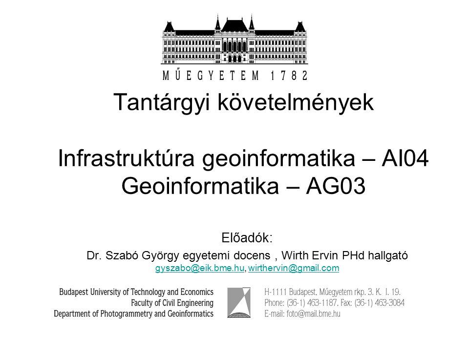 Tantárgyi követelmények Infrastruktúra geoinformatika – AI04 Geoinformatika – AG03 Előadók: Dr.