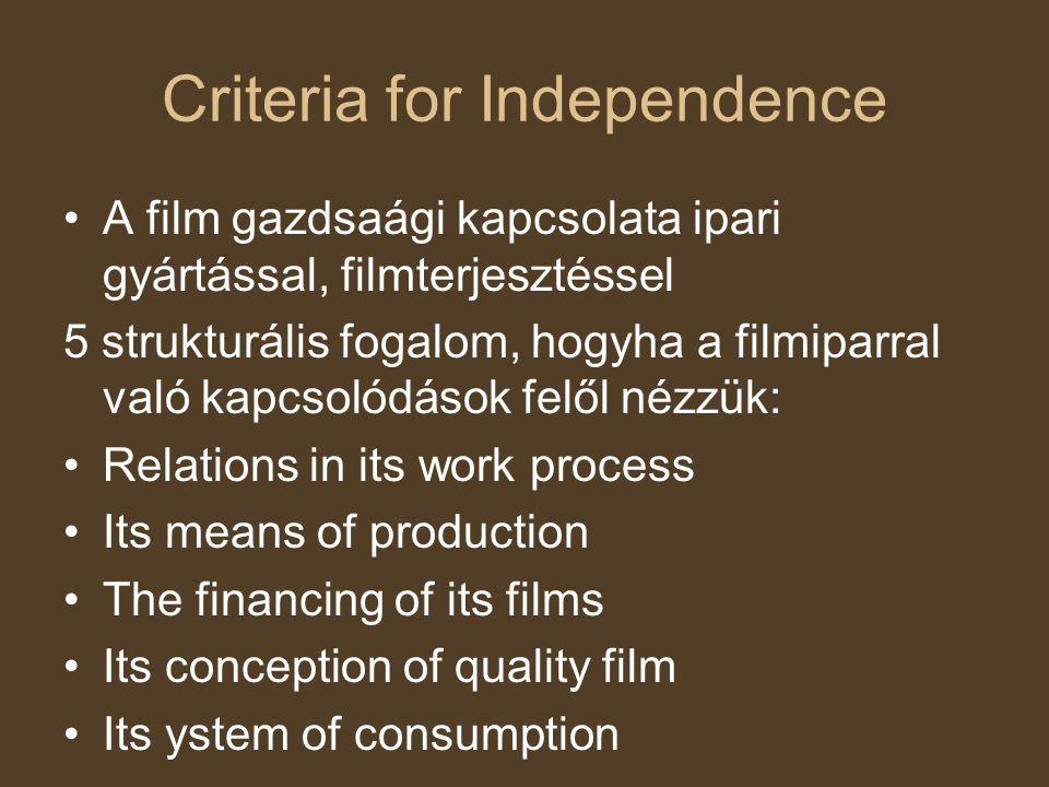 Criteria for Independence A film gazdsaági kapcsolata ipari gyártással, filmterjesztéssel 5 strukturális fogalom, hogyha a filmiparral való kapcsolódá