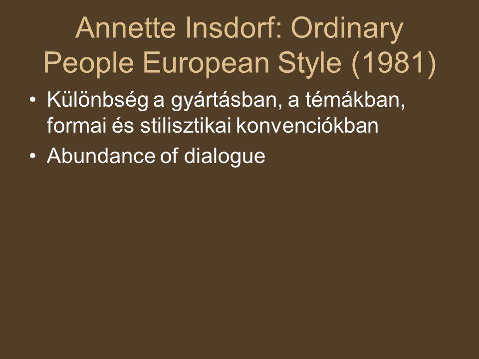 Annette Insdorf: Ordinary People European Style (1981) Különbség a gyártásban, a témákban, formai és stilisztikai konvenciókban Abundance of dialogue
