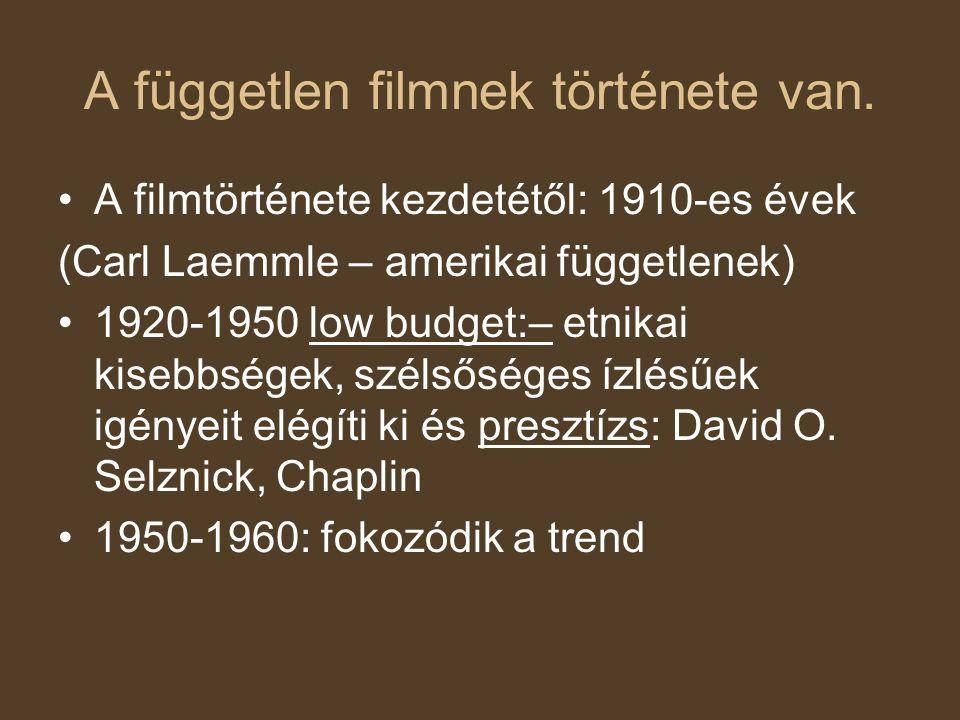 A független filmnek története van. A filmtörténete kezdetétől: 1910-es évek (Carl Laemmle – amerikai függetlenek) 1920-1950 low budget:– etnikai kiseb